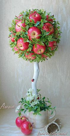 одноклассники Topiary Centerpieces, Diy And Crafts, Crafts For Kids, Diy Y Manualidades, Dollar Tree Decor, Fruit Decorations, Topiary Trees, Fruit Arrangements, Deco Floral