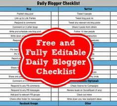 Free and fully editable daily blogger checklist that you need to keep you organized