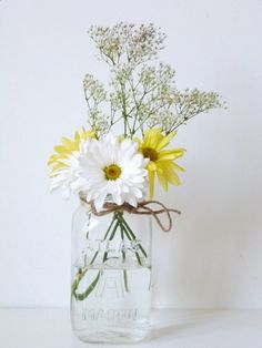 Clear Mason Jar - blue flower vase - rustic wedding centerpiece - vintage terrarium - herb planter. $12.00, via Etsy.