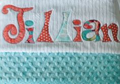 Monogrammed Baby Blanket in FROST, Aqua Blue Minky & White Chenille, Personalized with Your Baby Girl's Name in Coral Pink, Aqua, and Lime by mollyannemake on Etsy https://www.etsy.com/listing/108256651/monogrammed-baby-blanket-in-frost-aqua