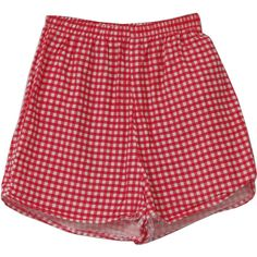 1960's Swimsuit/Swimwear (Missing Label): 60s -Missing Label- Womens red and white gingham print high, elastic waist Lolita style rockabilly swim shorts with brief lining and short short hems. ($25) found on Polyvore