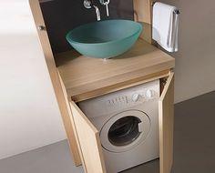 Meuble pratique et fonctionnel sous la vasque pour cacher la machine à laver  http://www.homelisty.com/integrer-lave-linge-deco/