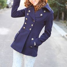 Price:$30.99 Color: Navy Blue/Black Material: Worsted Elegant Lapel Pure Color Double Breast Worsted Coat