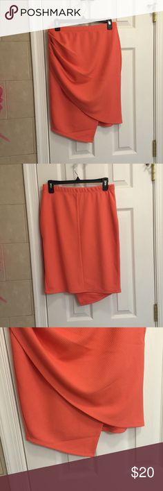Asymmetrical orange peach skirt NWT asymmetrical orange peach skirt. Perfect for summer time and super flattering on. Size is large. uk2la Skirts Asymmetrical