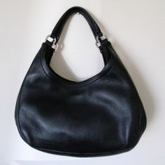 Cole Haan Navy Pebbled Leather Purse Hobo Shoulder Handbag Tote Waterproof Liner