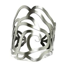 Jessyka Robyn Flower Metal Cuff Bangle in Silver (465 ARS) ❤ liked on Polyvore featuring jewelry, bracelets, silver bracelet bangle, silver cuff bracelet, metal cuff bracelet, silver jewelry and cuff bangle