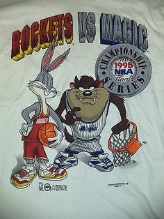 Vtg 1995 Houston Rockets Orlando Magic NBA Finals Shirt Bugs Bunny Taz Shirt M | eBay