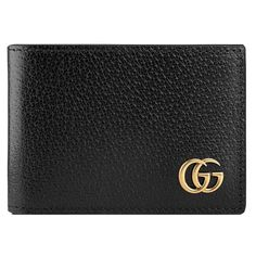 Gucci GG Marmont leather bi-fold wallet (4.806.355 IDR) ❤ liked on Polyvore featuring men's fashion, men's bags, men's wallets, black, mens leather credit card holder wallet, mens credit card holder wallet, gucci mens wallet, mens leather wallets and mens leather bifold wallet