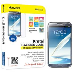 Amzer Kristal Tempered Glass HD Screen Guard Scratch Protector Shield for Samsung Galaxy Note 2 N7100 - Retail Packaging - Screen Coverage -- Check this awesome product by going to the link at the image.