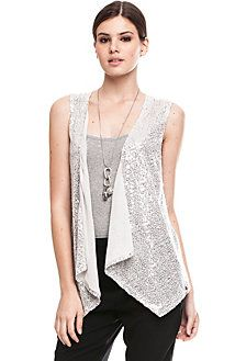 Sequin Vest Black silk pants White tank