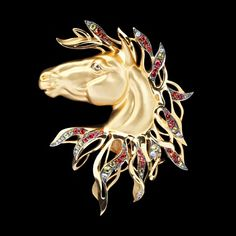 Brooch Mustang - buy in Mousson Atelier - yellow gold, diamonds, multicolored sapphires