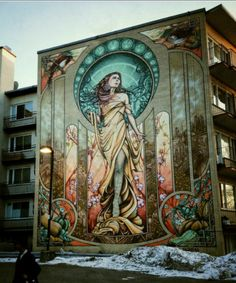 Public Murals by Ashop Crew on the Streets of Montreal street art murals graffiti. I love this Art Nouveau mural. 3d Street Art, Murals Street Art, Urban Street Art, Graffiti Murals, Amazing Street Art, Art Mural, Street Art Graffiti, Street Artists, Amazing Art