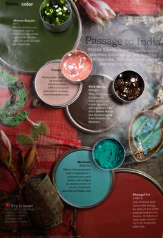 Interior paint palette I'm considering for our master bedroom.  Love the inspiration of India... and who wouldn't want walls of Shangri La!