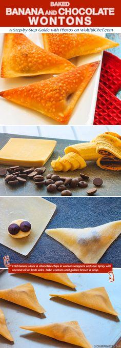Baked Banana and Chocolate Wontons