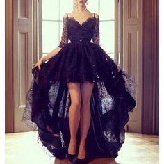 Dress: mullet black black lace lace mullet formal prom prom prom gown... ❤ liked…