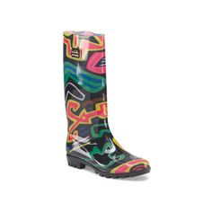 Rainy Day Rainboot ($22) ❤ liked on Polyvore featuring shoes, round toe shoes, water proof shoes, round cap, waterproof footwear and rubber boots