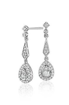 The delicate details of these vintage-inspired diamond teardrop earrings are perfect for a bride's big day or dressing up any occasion. Round brilliant-cut diamonds glitter in 14k white gold settings that hang at a demure, wearable length.