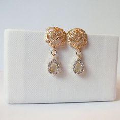 gold rose earring with cz tear drop  cubic zirconia earrings Crystal Teardrop Pear CZ Dangle Earrings, Vintage Style, Prom, Wedding earrings