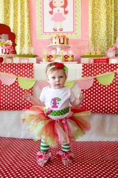 Strawberry Shortcake Themed 1st Birthday Party with Such Cute Ideas via Kara's Party Ideas | KarasPartyIdeas.com #strawberryshortcakecake #b... by jocelyn