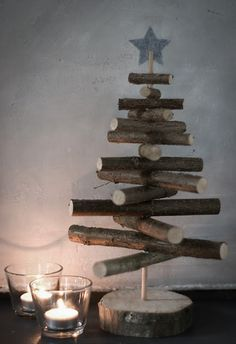 Twigs with holes drilled put onto a small dowel and placed onto a wooden base.  Students will love.