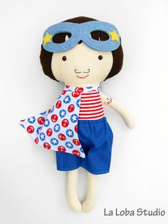SUPERHERO boy rag doll in nautical style for sea by LaLobaStudio