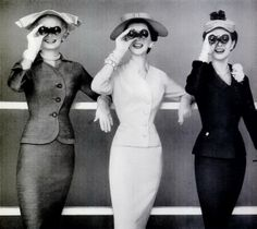 ∴ Trios ∴ the three graces & groups of 3 in art and photos - models wearing suits by Swansdown, 1954