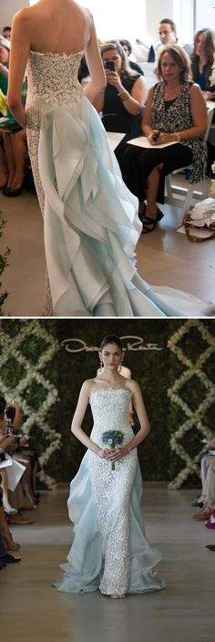 Oscar de la Renta wedding dress. Crochet over colored gown. just what I want, sans that train. And the sure-to-be-heart stopping price tag.
