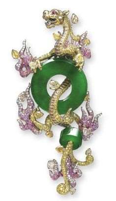 A JADEITE AND MULTI-GEM CLIP BROOCH, BY WALLACE CHAN