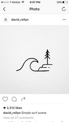 Wave and tree tattoo