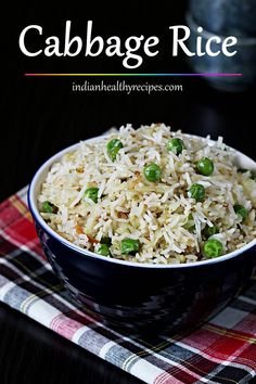 Cabbage rice is an easy stir fried dish made with cabbage, cooked rice and few other optional ingredients. It makes for a quick dinner option tastes delicious. Lunch Snacks, Lunch Box Recipes, Rice Recipes, Clean Eating Snacks, Healthy Dinner Recipes, Indian Food Recipes, Beef Recipes, Vegetarian Recipes, Cooking Recipes