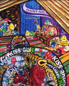 Candy in the Attic..Candy Wrapper Collage on Canvas..16x20
