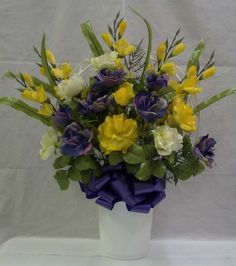 Hoop Basket Bouquet with Lavender/Yellow/Cream Silk Flowers