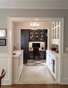 Isn't this a beautiful nook within a nook? … a kitchen office within a Butler's Pantry! I love the contrast...