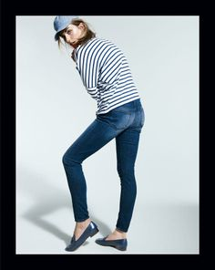 FEB '14 Style Guide: J.Crew toothpick jean and chambray baseball cap.