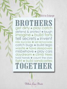 Twin Boys Nursery art Brothers Subway decor by WillowLanePrints, $15.00