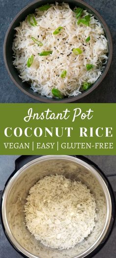 Vegan, gluten-free, and ready in just 30 minutes, serve this delicious coconut rice with all your favorite Asian-inspired curries and stir-frys! | Instant pot Rice recipes | Instant pot coconut rice | Vegan Rice Recipes | #coconutrice #ricerecipes #instantpotrice | pipingpotcurry.com
