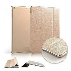 Supstar Bling Silk Ultra Slim Smart Cover Magnetic Pu Leather Case Stand + Transparent Back Case for Ipad Air/5 (Gold-ipad 5)