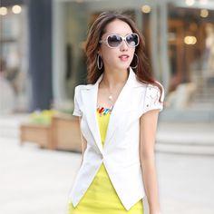2013 delgado y fino blazer blanco de la mujer casual blazer cortos de mujer manga ropa de abrigo