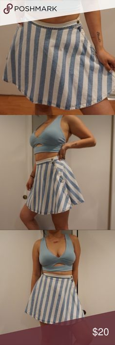 American Apparel Striped Skirt Blue and white striped skirt. American Apparel Skirts Mini