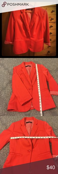 The Limited red coral blazer Confidently roll up your sleeves in this statement blazer sure to turn heads at work! Fitted silhouette. Poly/rayon blend. Brand new last summer and never worn. The Limited Jackets & Coats Blazers