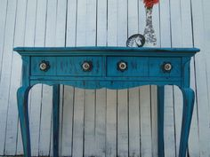 Wooden Desk Vanity Entry Way Table in Distressed teal turquoise blue black red with drawers beach cottage shabby chic country primitive Modern VIntage