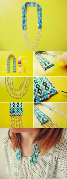 This necklace is inspired by the beautiful woven work by Fiona Paxton. I've used a Navajo style ribbon to recreate the delicate bead work. If you'd like to make it, here's how. Cover the ends of your ribbon in glue to stiffen. While it's drying cut lengths of chainin various sizes. Lay them out to …