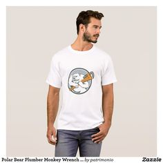 Polar Bear Plumber Monkey Wrench Circle T-Shirt. Men's t-shirt ideal for plumbers featuring a cartoon style illustration of a polar bear plumber holding a monkey wrench on its shoulder set inside a circle on isolated background. #polarbear #plumber #tshirt