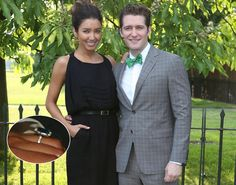 """""""Glee"""" star Matthew Morrison has popped the question, getting engaged to his model girlfriend, Renee Puente. The news was announced by probably the last person you'd expect. David Furnish, Matthew Morrison, Celebrity Engagement Rings, Engagement Celebration, Star Show, Morrisons, Getting Engaged, Exciting News, Glee"""