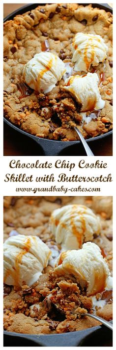 Decadent Chocolate Chip Cookie Skillet with Butterscotch Chips ~ http://www.grandbaby-cakes.com