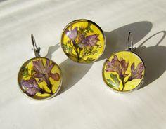 Комплект с миниатюрными букетиками из сирени - эпоксидная смола,серьги, кольцо, Jewelry, подарок,подарок девушке,подарок подруге