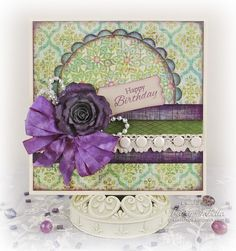 Birthday Card by Tracey Sabella for Really Reasonable Ribbon: Handcrafted Flower, four loop bow, Bling, Candi, Lace, Ribbon, Inking, string pearls, May Arts, Birthday