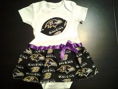 I could so make this myself - screw etsy ;)  Baltimore Ravens Inspired Baby Dress