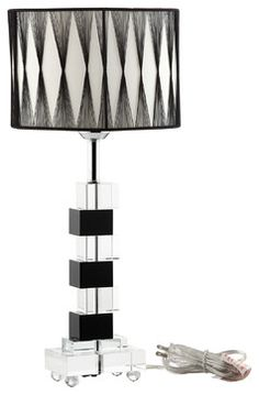 Percussion Black and White Crystal Modern Table Lamp - modern - Table Lamps - LexMod