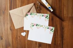 Painted Floral Flat Card - Hand Painted Flowers - Custom Stationary on Etsy, $16.43 AUD